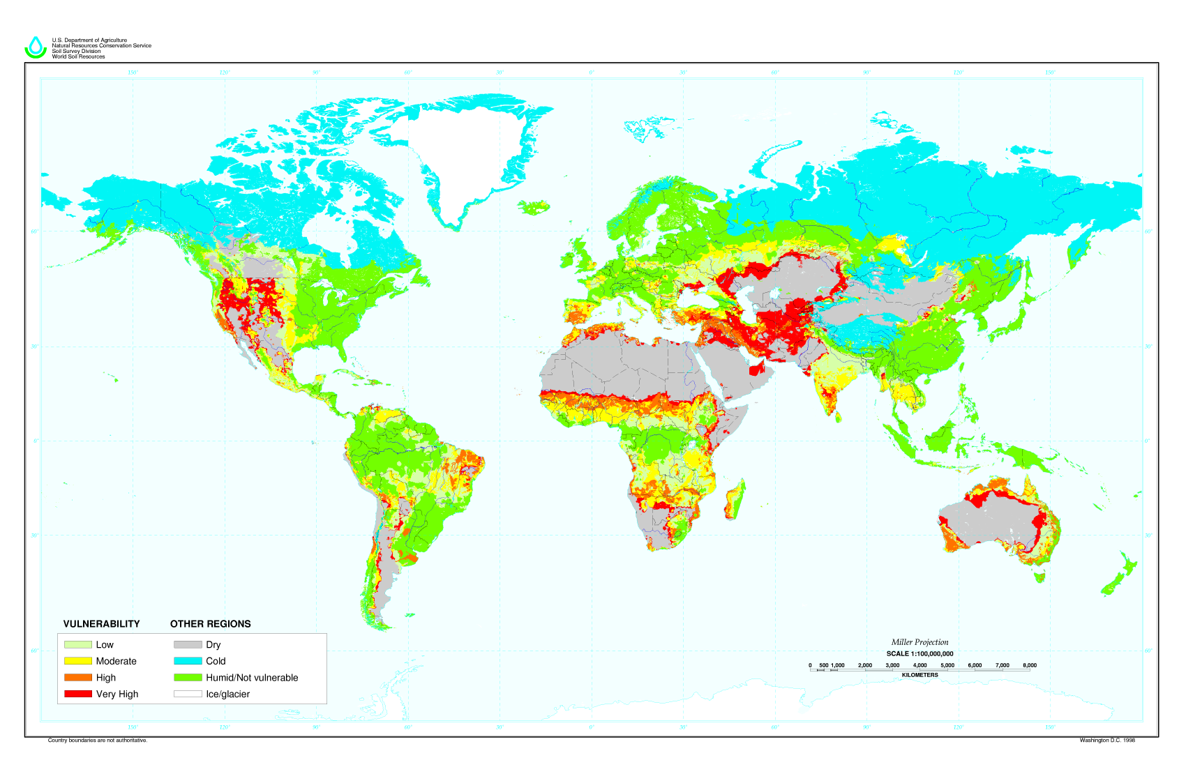 Global Desertification Vulnerability Map by soils.usda.gov